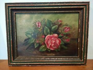 Small Antique Early 1900s Painting Of Pink Cabbage Rose And Buds Stillife