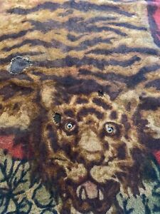 Vintage Chase Mohair Horsehair Carriage Buggy Lap Sleigh Blanket Tiger Rug Eyes