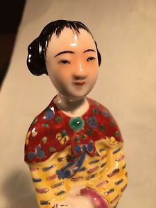 Antique Famille Rose Chinese Republic Period Girl Statue Figurine Big 10 Signed