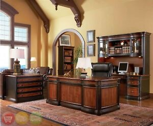 4 Piece Executive Desk 2 Bookcases Lateral File Two Tone Wood Home Office Set