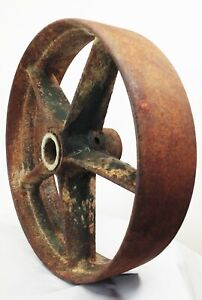 Vtg Antique Cast Iron Metal Industrial 10 Factory Cart Castor Wheel 5 Spoke