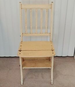 Antique Wood Chair Converts To Step Ladder Franklin Library 1880 1900 Paris Mfg