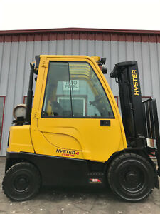 Free Shipping 2015 Hyster H40ft 4000lb Pneumatic Full Heated Cab Forklift