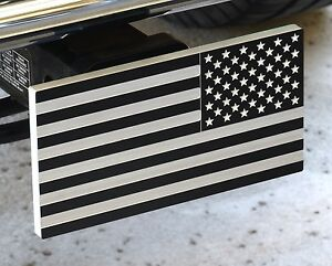 Military Reverse American Flag Aluminum Trailer Hitch Cover With Receiver Lock