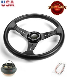13 5 Pvc W 3 Black Spokes Steering Wheel Horn Button W Short Hub For Honda