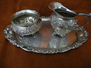 Antique 800 Repousse Silver Germany 3 Pieces Sugar Creamer Tray