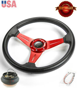 13 5 Pvc W 3 Red Spokes Steering Wheel Horn Button W Short Hub For Honda