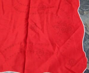 Art Deco Table Linen Daisies Leaf Spray Embroidery Red White Scallop Vintage