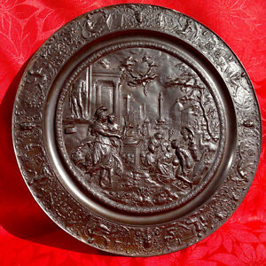 Antique Grand Tour Ancient Rome Plaque Emperor Trajan Bronzed Pewter 15 75