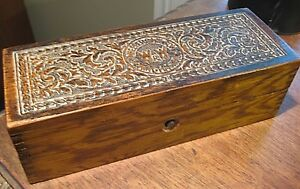 Vintage Wheeler And Wilson Sewing Machine Accessory Ornate Oak Wood Box 1800s