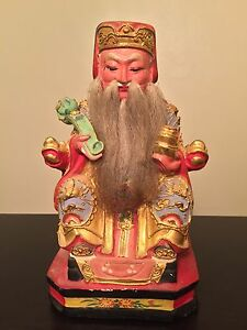 Fine Chinese Carved Gilt Imperial King Court Statue Dragon Art Wow