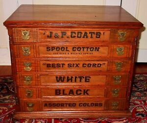 Unusual J P Coats 6 Drawer Spool Thread Cabinet 15530
