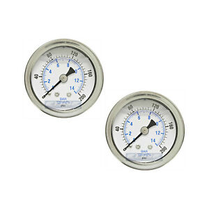 2 Pack Liquid Filled Pressure Gauge 0 200 Psi 1 5 Face 1 8 Npt Back Mount