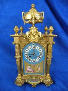 Antique Superb Gilt Bronze Clock With Hand Painted Porcelain Insert