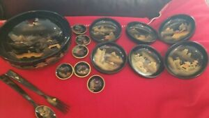 Antique Japanese Hand Painted Black Lacquered Wood Bowls Set Of 6