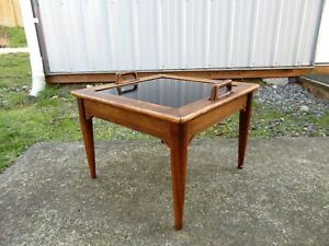 Vtg Mid Century Side Table Reversible Tray Footstool Danish Hans Wegner Eames