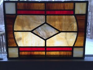 Vintage Handcrafted Leaded Stained Glass Window Panel 10 X 14 Red Amber Brown