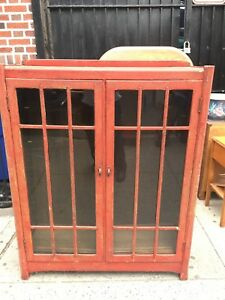 Antique Stickley Speckled Painted Wood Glass Doors China Cabinet Bookcase