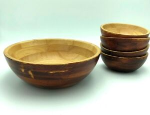 Set Of 4 Small And 1 Lg Tutto Casa Mountain Woods Salad Popcorn Snack Bowls