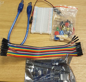 Electronics Starter Kit Led Mega328p Breadboard Cable Arduino Set Uno R3 Ne0057