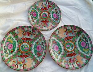 Pair 12 Rose Medallion Hand Painted Chargers Plates Bowls 10 Matching Plate
