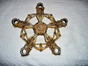 Vintage Ceiling 5 Socket Light Fixture Victorian Era Cast Iron