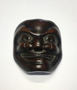 Antique Japanese Finely Carved Wood Netsuke Demon Mask Estate Found