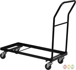 Black Metal Folding Dolly Cart Designed Plastic Folding Chairs Commercial Use