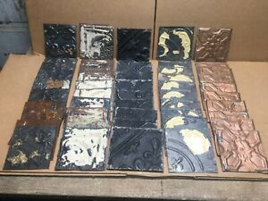 50pc Craft Lot Of 6 By 6 Antique Ceiling Tin Vintage Reclaimed Salvage Art
