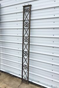 Antique Iron Porch Post Flat Column Panel Support Architectural Garden Vtg Shelf
