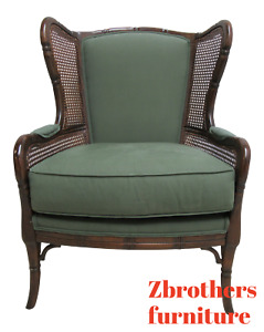 Ethan Allen Faux Bamboo French Wing Back Living Room Chair A