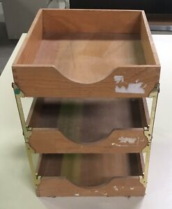 Vintage Wood Brass 3 Tray Desk Organizer In out Box Finger Joints Double Letter