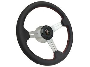 1984 2004 Mustang S6 Leather Steering Wheel Brushed Kit Red Stitch