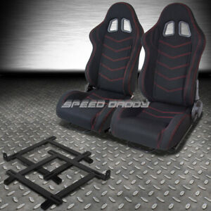 2x Black Red Stitch Bucket Racing Seat Low Mount Bracket For 99 04 Ford Mustang
