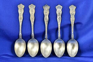 American Silver Co 5 Wwi Silver Plate Spoons France Russia Great Britain More