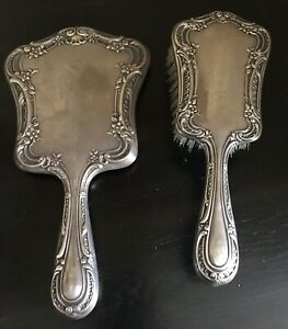 Vintage Gorham Sterling Silver 27 Vanity Set Brush And Mirror In Melrose Pattern