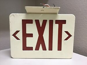 Vintage Red Lighted Exit Sign Double Sided W Arrows Top Mounted With Wires