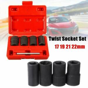 5pc Twist Socket Set Damaged Worn Lug Nut And Lock Remover Tool 17 19 21 22mm