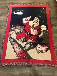 1993 Coca Cola Santa Train Toy Throw Blanket Fringe 67