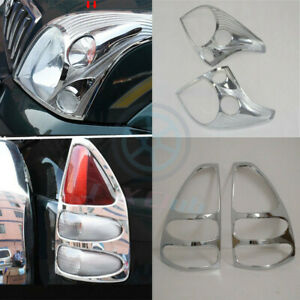 Chrome H Front Head Light Rear Light Cover Trim For Toyota Prado Fj120 2003 09