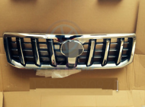 Chrome H Front Bumper Grille Grill For Toyota Land Cruiser Prado Fj120 2003 2009