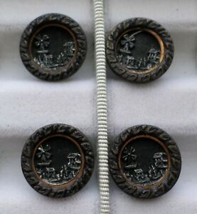 Antique Metal Picture Buttons Windmill Village Scene Lot Of 4 Buttons