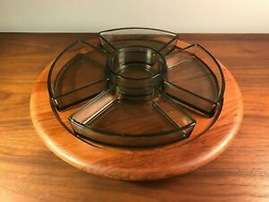 Digsmed Mid Century Danish Modern Teak Lazy Susan Glass Dishes Serving Tray