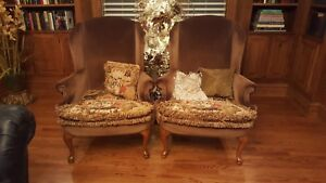 Pair Of Vintage Queen Anne Wing Arm Chairs Upholstered
