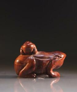 Japanese Carved Wood Netsuke Toad