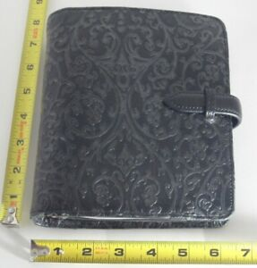 Franklin Covey Compact Black Full Grain Leather Vine Embossed Binder Planner
