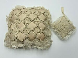 Large Antique Lace Silk Ribbonwork Smaller Embroidered Cotton Pillow Sachet