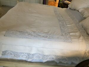 Antique 1900 Embroidered Lace Linen Bed Sheet Exceptional 141 X 92