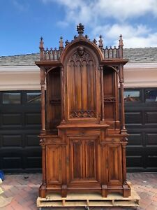 Antique French Gothic Statement Armoire Cabinet Carved Detail Crafted In Paris
