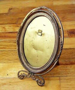 Antique Gold Painted Tin Oval Picture Frame Removable Easel Back No Glass